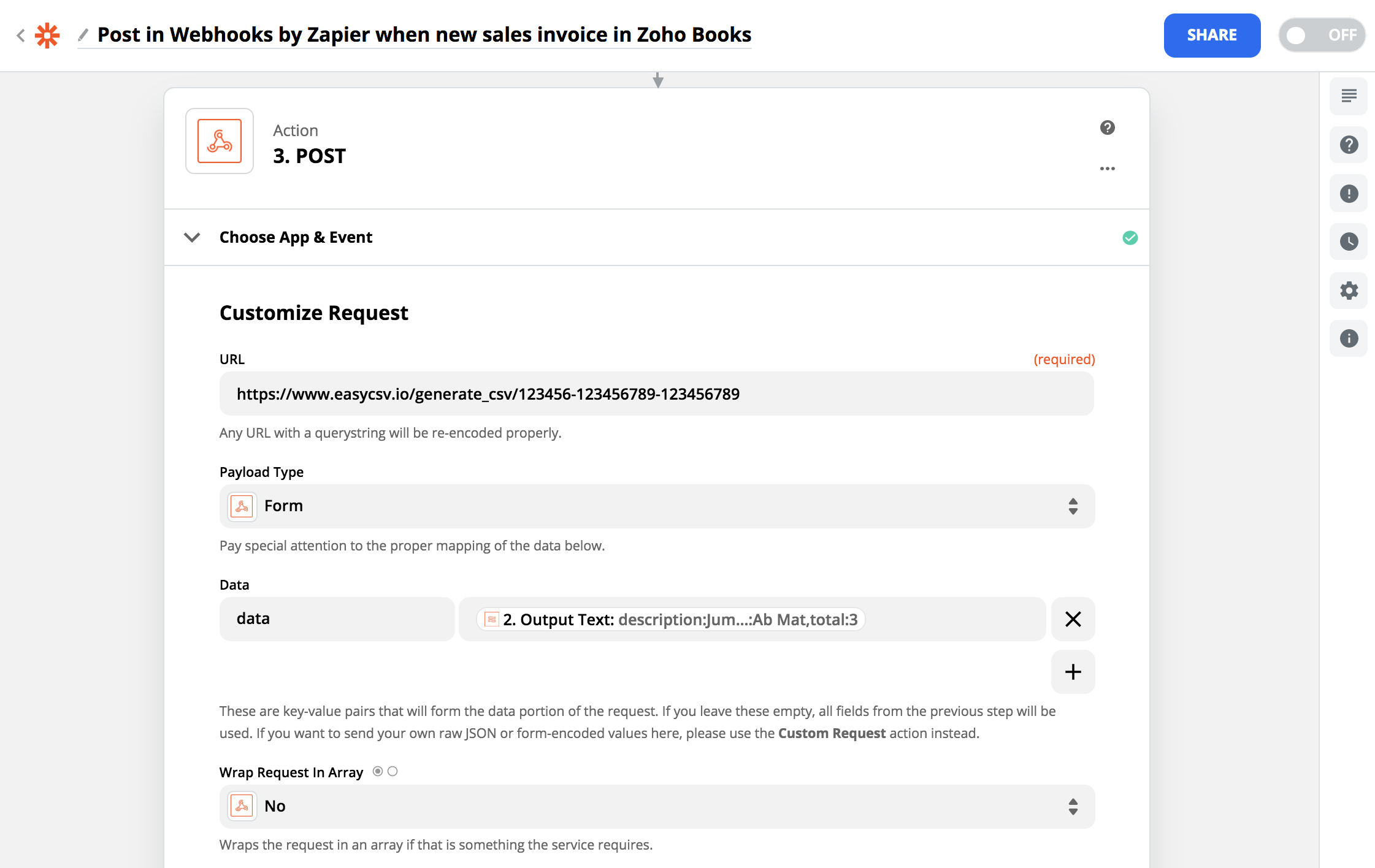 Zapier line-items to array and CSV utility post to EasyCSV